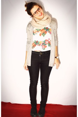 orange Primark t-shirt - eggshell Primark scarf - black Primark pants