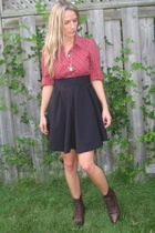 thrifted shirt - thrifted skirt - vintage shoes - From Grandma necklace