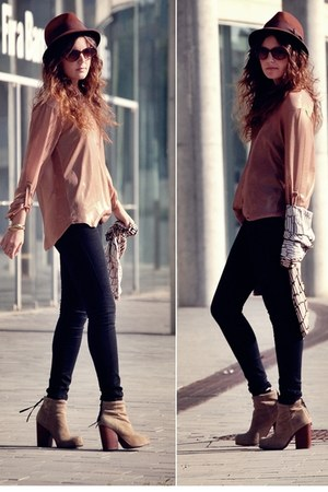 Love shirt - leather Jeffrey Campbell boots - Primark jeans - Zara hat