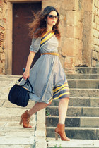 leather bag Bimba&Lola bag - leather asos boots - vintage dress