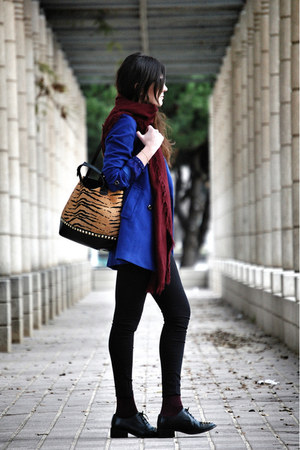 Zara scarf - leather asos shoes - vivilli coat - Bershka jeans - Zara bag