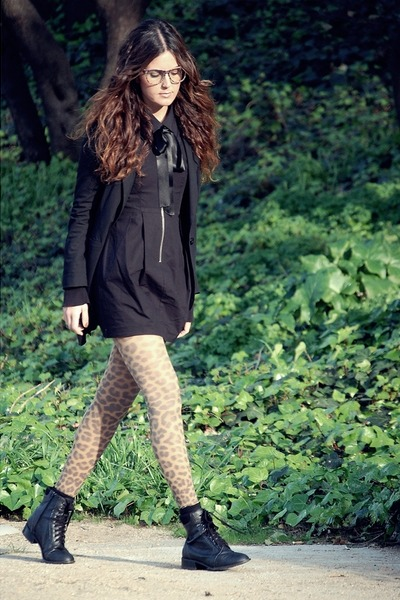 H&M tights - Forever 21 boots - H&M dress - H&M shirt - Prooptical glasses