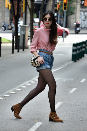 Mango bag - The Fab Shoes boots - vintage shirt - Miu Miu sunglasses