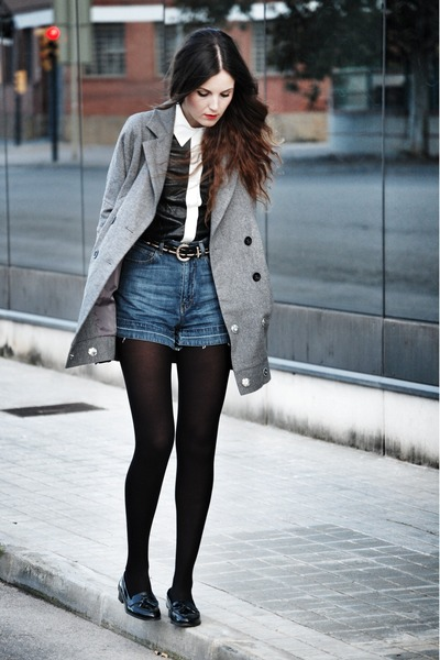 Bershka coat - OASAP shirt - Maje shorts - patent leather Miss Selfridge loafers