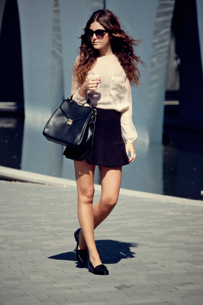 Zara blouse - leather Zara bag - Mango sunglasses - Zara skirt