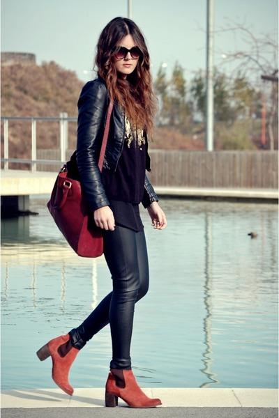 Zara bag - Jeffrey Campbell boots - H&M jacket - Zara sweater - Zara pants