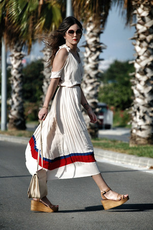Zara shoes - chiffon Sheinside dress - Zara bag - vintage sunglasses