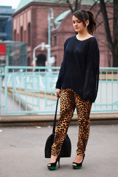 black see trough GinaTricot sweater - gold Zara pants - green Primark heels