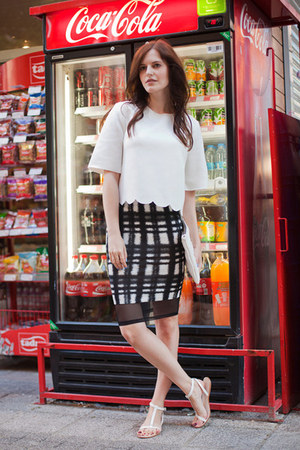 white Front Row Shop top - black asos skirt