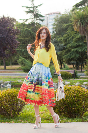 sky blue Chicwish skirt - light yellow H&M blouse - white Mango heels
