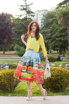 sky blue Chicwish skirt - light yellow H&M blouse - white Mango heels