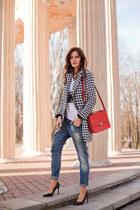 black Sheinside coat - red Zara bag