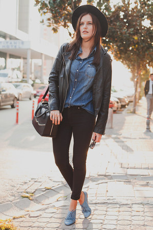 black Zara hat - blue Gloria Jeans jeans - black Mango jacket