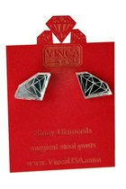 silver diamond acrylic Vinca earrings