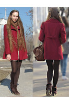brown Bershka bag - dark brown boots - peach Forever 21 dress