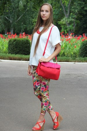 hot pink Zara bag - white Mango shirt - red Stradivarius necklace