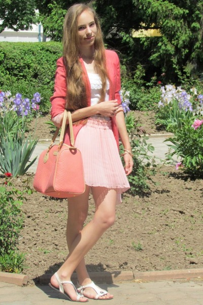 pink Bershka bag - bubble gum Bershka blazer - light pink Zara skirt