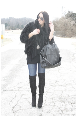 black Secondhand coat - black Topshop boots - black Givenchy bag