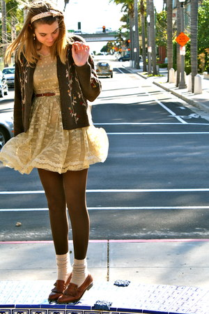 brown vintage loafers - modcloth dress - brown vintage belt - vintage earrings