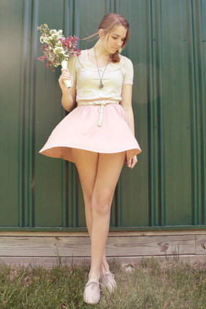 ivory Urban Outfitters shirt - light pink H&M skirt
