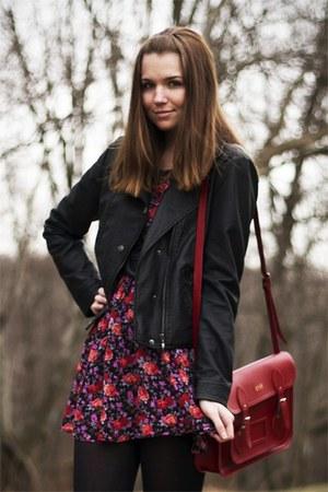 pink modcloth dress - black DSW boots - black modcloth jacket