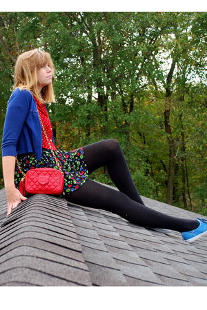 black floral Forever 21 skirt - blue Keds shoes - red Chanel bag