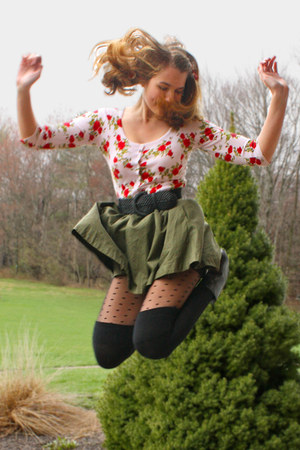 army green H&M skirt - black Target tights - red floral Forever 21 cardigan