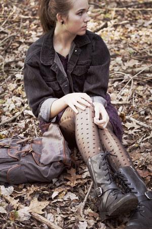 black DSW boots - purple Forever 21 dress - black thrifted jacket