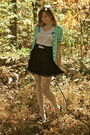 Black-kohls-skirt-white-h-m-tights-white-urban-outfitters-shirt-green-thri