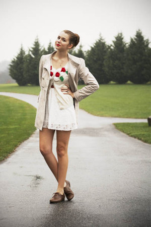 red modcloth cardigan - white Forever21 dress - beige H&amp;M coat