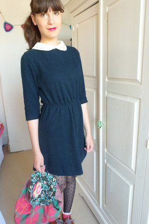 vintage dress - H&M shoes - spot dot Primark tights