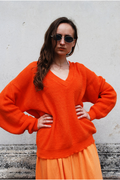 carrot orange Vintaholic cardigan