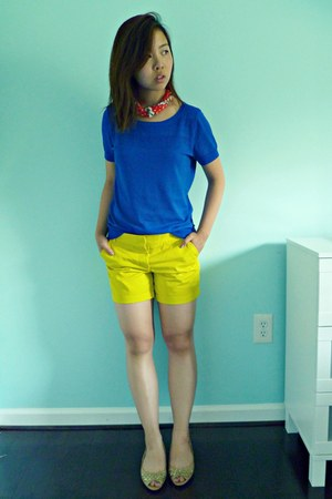 yellow JCrew shorts - nude From China shoes - blue The Limited shirt