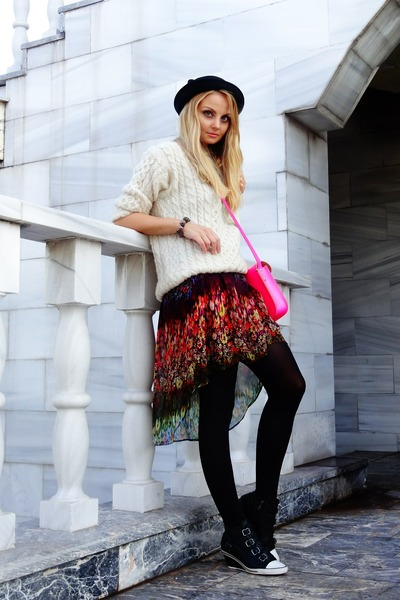 pink The Leather Satchel Company 11 Neon Sat bag - magenta Zara dress - asos hat