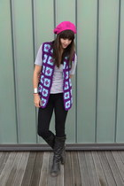 purple vintage crochet vest - hot pink hat - heather gray C&C California shirt
