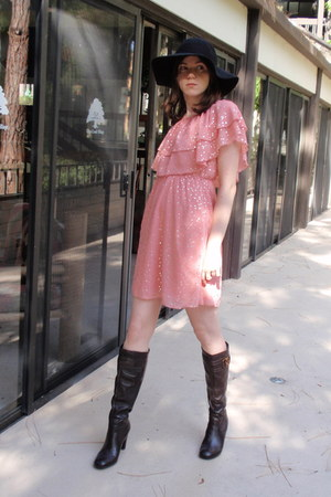 black Forever 21 hat - dark brown franco sarto boots - pink Candies dress
