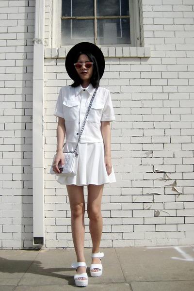 white OASAP top - white chicnova skirt - white Lovelywholesale sandals