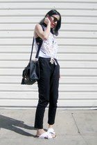 black azra Lamoda bag - black 6ks pants - white 6ks top