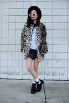 leopard print Forever 21 coat - wool Forever 21 hat - runner HotMeSS shorts