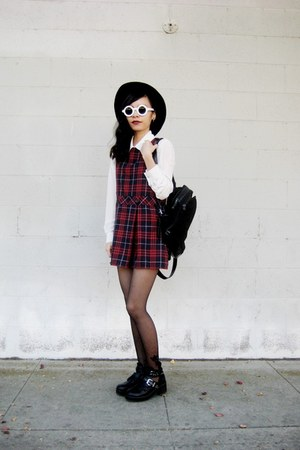 tartan thrifted dress - zeroUV sunglasses