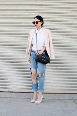 cream little-mistress blazer - black BangGood bag
