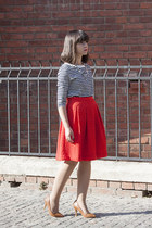 red H&M skirt - tan Stradivarius shoes - white Zara top