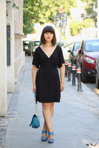 blue pull&bear bag - black Zara dress - blue Bershka sandals