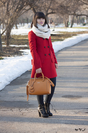 red Zara coat - black H&M boots - navy Bershka jeans