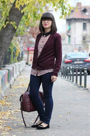 Mango jeans - crimson Vila blazer - ruby red asos blouse