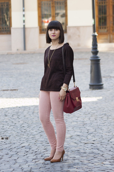 light pink pull&bear pants - ruby red asos bag - dark brown pull&bear blouse