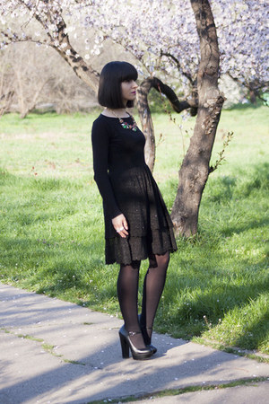 black Mango dress - black new look blouse - black Zara heels