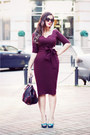 Magenta-hybrid-dress-magenta-h-m-bag-teal-zara-heels