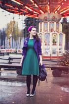 hot pink Catarzi hat - teal Sultanna Frantsuzova dress - black asos bag