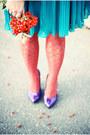 Turquoise-blue-new-look-dress-carrot-orange-h-m-stockings